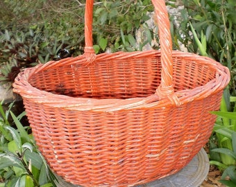 Vintage Red Wicker Berry or Market Basket-1950's