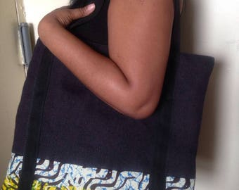 Burlap laptop carrier, African printed bottom border, black