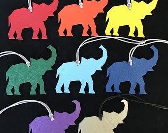NEW! Double-Sided Leather/Fabric Origami Elephant Bag Charms