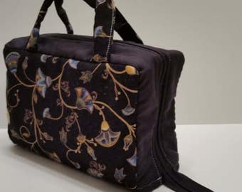 Classic Black With Gold and Blue Florals Lunch Tote Opening Into a Tray.