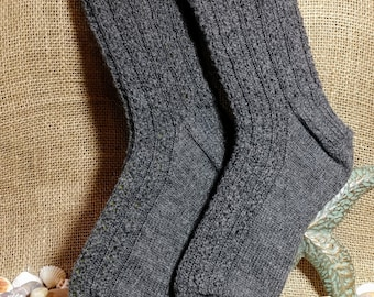 Free Shipping/ Hand Knit Womens Socks/ Wool Socks/ Lacy Ribbed Socks/ Hand Knit Wool Socks/ Warm Socks/ Made in USA/ Ready to Ship