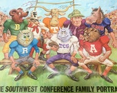 Vintage 1968 The Southwest Conference Family Portrait - College Football Mascots Poster Collectible