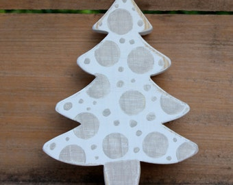 Wooden Tree, Small Tree, Polka Dots, Gray, White, Wood Tree, Handmade tree, Distressed tree, Gift, Gray polka dots, Little tree, Rustic tree