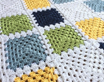 READY TO SHIP. Crochet Baby Boy Blanket. Granny Square Baby Afghan. Yellow, Blue, Green Baby Blanket.
