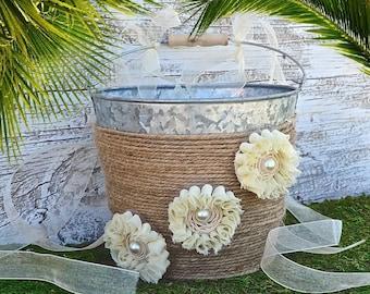 Wedding Flower Girl Basket, Rustic Wedding, Burlap Ribbon, Ivory Flowers, Wedding Basket ,Country Wedding