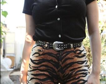 Vintage Tiger Print Denim Pants