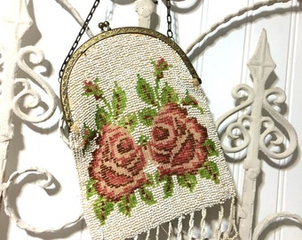 Vintage Glass Bead Roses Purse