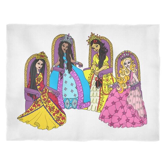 Circle Of Princess Friends Blanket Latina Princess Hespanic Princess Asian Princess African American Princess Four Princesses