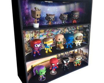 Exclusive Stackable Funko Pop Classic Display with 3 Marvel Backdrop Inserts, Black Corrugated Cardboard (Toys not included)