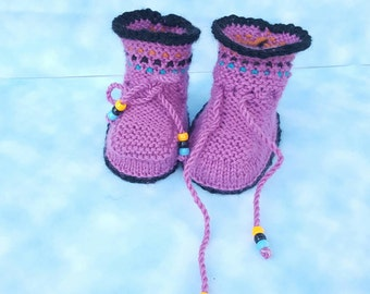 No gender Purple Turquoise Rainbow baby booties gift newborn Baby Booties, Knitted Baby Booties, Baby Photo Prop, Baby Boy Booties, Baby Boy