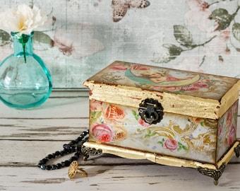 Victorian Angel Trinket Box - Shabby Chic - Vintage Box - Jewellery Box - Jewellery Storage - Mother's Day Gift - Decoupaged Box