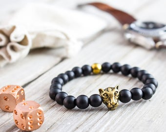 8mm - Matte black onyx beaded gold Leopard head stretchy bracelet with a gold plated hematite, yoga bracelet, mens bracelet, womens bracelet