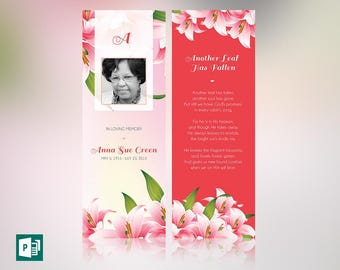 Petals Memorial Bookmark Publisher Template