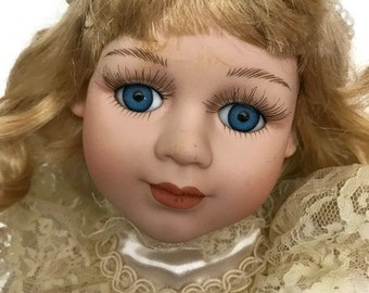 Vintage Porcelain Doll 80's Doll with long curly Hair Geppedo Doll