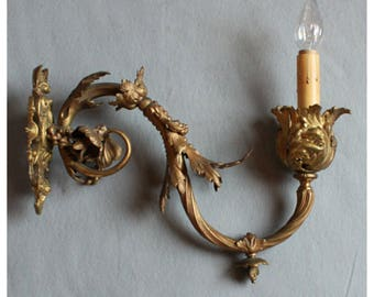 A7193 Antique Rococo Cast Iron  Single Wall Sconce (Gas)