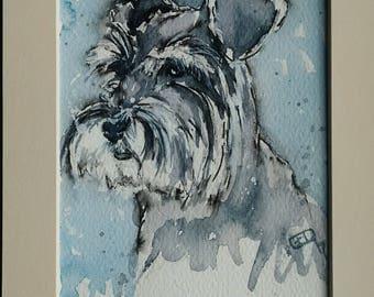 Schnauzer art dog painting pet portrait original watercolour painting of a miniature schnauzer