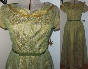 SALE! Vintage 1960s olive green lace party dress large 325