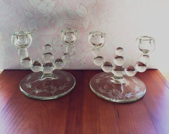 Vintage Bubble Glass Candle Holders- set of 2