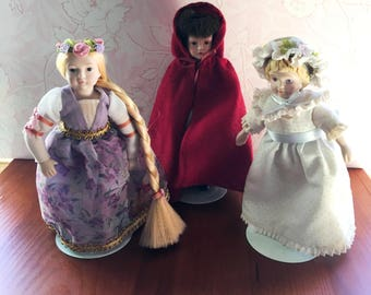 3 Vintage Avon Dolls with stands