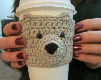 Light Brown Bear Cup Cozy, Cup Cosy, Gift Idea, Gift for Her, Gift for Women, Coffee Cozy, Mug Cozy, Tea Cover, Coffee Cup Sleeve