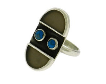 Double Crescent Agate and Turquoise Ring