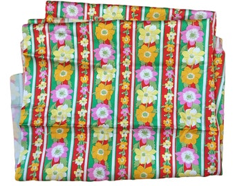 "Vintage Floral Striped Silk-Like Synthetic Fabric 36"" x 116"""