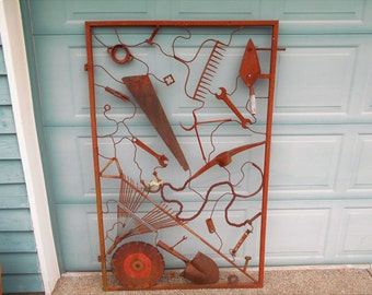 Rusty metal garden art gate