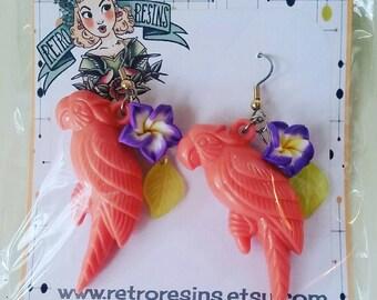 Tropical parrot earrings