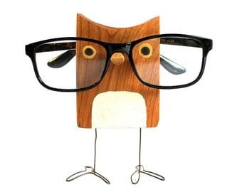 Wood Owl Eyeglass Stand