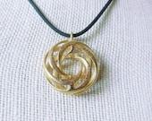 Twisted Torus Pendant in 3D Printed Gold Steel