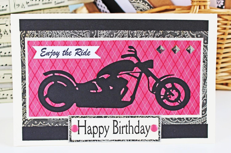 Enjoy the Ride Pink Motorcycle Card Harley Davidson Birthday – Harley Davidson Birthday Cards