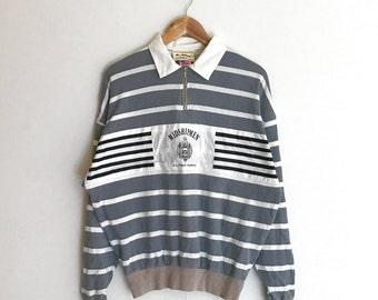 Sale Rare !! Vintage U.S Naval Academy Midshipmen Navy Design Wear sweatshirts 90's Fashion Style Half Zipper Stripes Grey