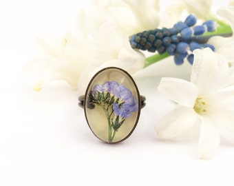 Forget me not jewelry, Flower ring, Floral resin ring, Gift for teenage girl, Something blue, All sizes ring, Memory gift, Best friend ring