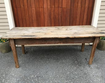 Antique Farmhouse Table Rustic Wood Table Farmhouse Table Original Wooden Vintage Table Rectory Church Table Vintage Farmhouse Table