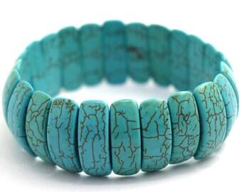 "7x22mm blue turquoise stretch bracelet 8"" 36092"