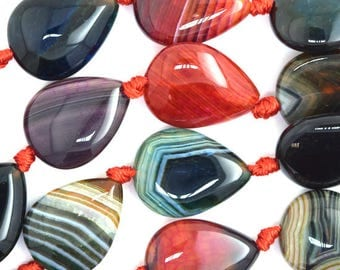 "20mm multicolor agate flat teardrop beads 15"" strand 36461"