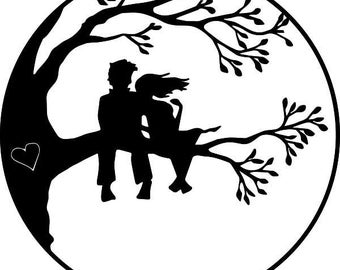 """Couple in Tree Within a Circle 3.75"""" tall"""