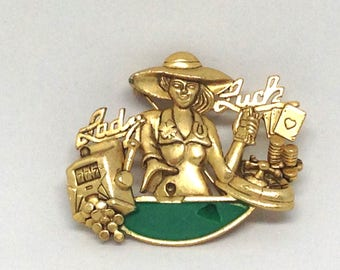 Intriguing Signed AJC Lady Luck Casino Gold Tone Vintage Estate Brooch