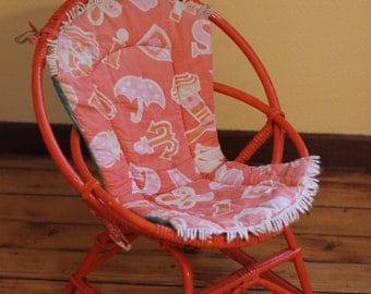 Rattan bamboo kids chair / vintage / mid century / orange/red / retro design / children's chair
