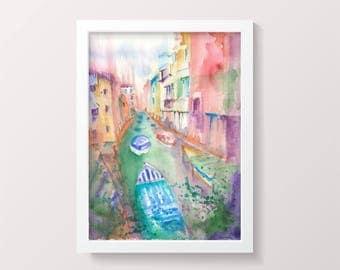 ORIGINAL Venice Watercolor Painting Venezia watercolour art Italy Impressionist Colorful Watercolor Wall art Gift ideas