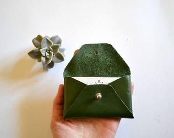Dark green leather card holder / Green envelope card holder / Green leather business card case / Genuine leather