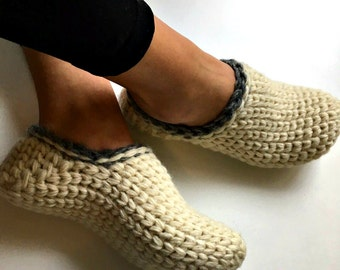 100% Natural Wool Slippers, Organic Wool Crochet Slippers, Pure Wool House Shoes, Warm Slippers, Eco Wool Shoes, Cozy Slipper,Gift for Women
