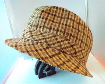 Vintage brown tweed, Men's Fedora hat, trilby hat, size 7, medium, Fedora by Burton, Great Britain, vintage Fedora, vintage Fedora, pork pie