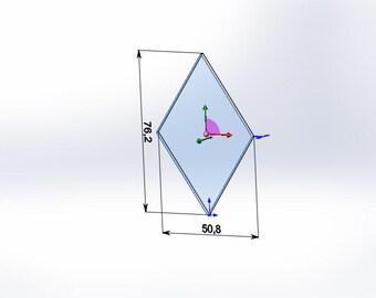 "Mirror glass Diamond 3"" x 2"" - 40 pcs"