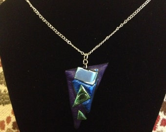 Shiny iridescent metallic colourful Friendly Plastic necklace, Purple Triangle