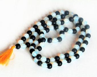 Hand Threaded Moonstone & Shiva Lingam Mala Beads 108