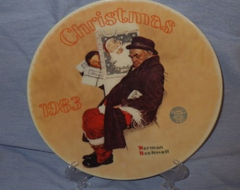 Norman Rockwell Collector Plate F12392 Santa in the Subway