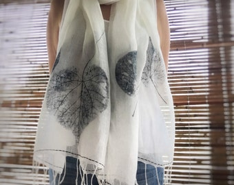 Indigo White Linen Shawl - Hand Stitching - Made to Order. Eco friendly, large scarf, linen summer scarf,  leaf print shawl, mbpblue designs