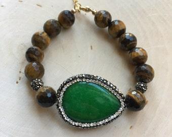 Green Jade Pave Bracelet with Tiger Eye