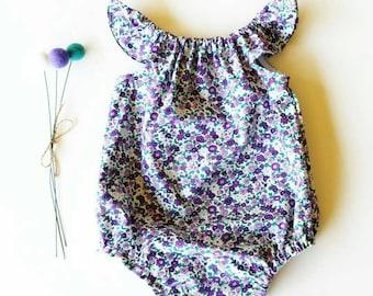 DAISY purple flutter sleeve romper